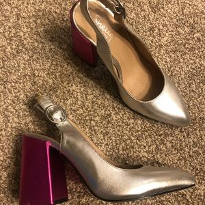 Shellys London Silver Pink Thick Heels for Party
